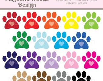 Heart Paw Print Clip Art, Animal Paw Clip Art, Animal Paw Print Clip Art, Paw Print PNG, Digital Paw Print, Small Commercial Clip Art