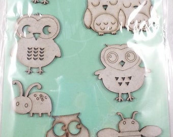10 chipboard 3D stickers for scrapbooking and card making or decorating, Rahmenn (owls)