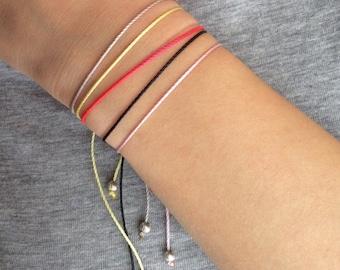 Dainty adjustable bracelet, minimalist bracelet, everyday bracelet, sterling silver bead bracelet