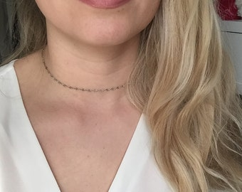 Delicate Choker necklace / stainless steel / stainless steel / fine necklace and stackable / layering / oval MICA Choker / mirror