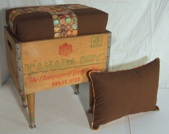 Vintage Canada Dry Crate Ottoman Footstool Soda Pop Upcycled Crate Repurposed soda Crate  Vintage Crate Optional Accent Pillow