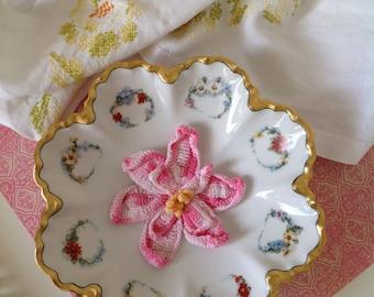 Vintage Haviland Limoges Gold Floral Wreath Serving Bowl Signed