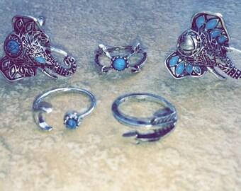 Boho 5pcs silver vintage elephant ring stack set