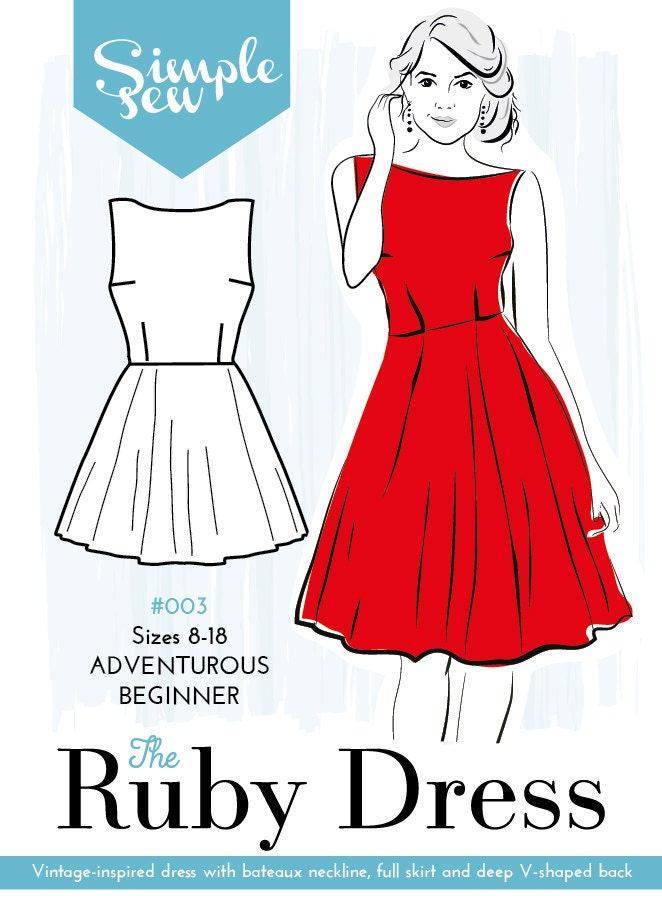 simple sew ruby dress sewing pattern uk by simplesewpatternsuk. Black Bedroom Furniture Sets. Home Design Ideas