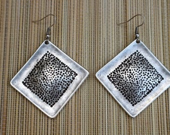 Modern Squares Silver Earring