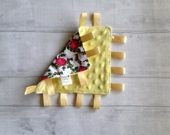 baby taggie blanket - folk girl, roses, yellow minky, Waldorf sensory toy, baby comforter, minky lovey, security blanket, development taggy