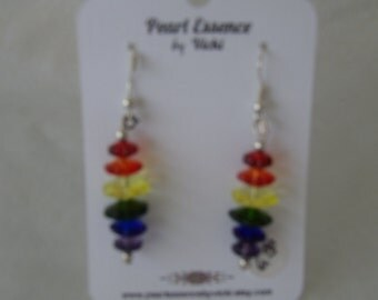 Rainbow Glass Earrings-Multi Glass Orbs- Color-Red-Orange-Yellow-Green-Blue-Purple-Silver Ear Wires-Plastic Stoppers-Dangle