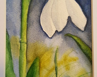 "Original watercolor, ""Snowdrop"""
