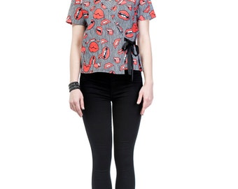 Digital Print Double Breasted Short Sleeve Jacket