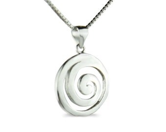 "18k gold plated sterling silver Greek ""Spiral""Symbol of Circle of Life, necklace in gift box"