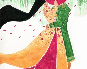 Lover's Embrace - Watercolour Art Print to Download