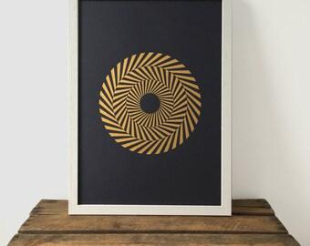 Hypnotic Circle Print, Gold Print, A3 Art Print, Geometric Print, Black and White Print, Minimal, Screen Print, Screen Print, Gift Idea