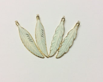 Wholesale Feather Bone Pendant Gold Electroplated Gold Edge Single Bail By Piece