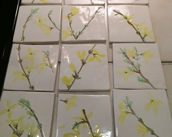 Yellow Forsythia flowers embossed clay tiles