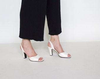 Vintage 90s women's White pearl Slingback heels open toe | Size 37 | Made in SPAIN