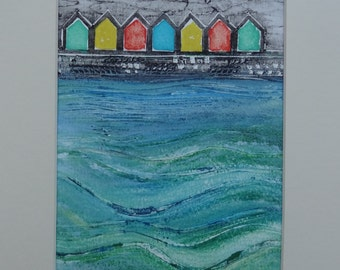 Whitby Beach Huts II - Original Collagraph Print