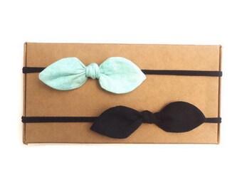 Choose Two Bows // Baby Headband // Small Baby Bows // Nylon Headbands // Baby Gift // Baby Shower