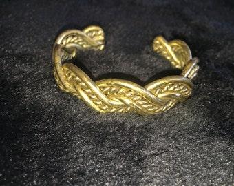 Vintage brass woven cuff bracelet