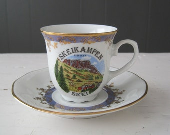 Vintage Souvenir Coffee Cup from Skei, Norway - Retro, Kitsch, Folk