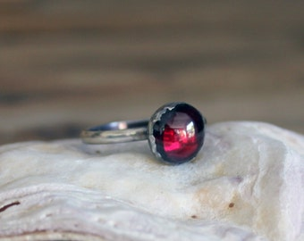 Gothic Red Garnet Birthstone Stacking Ring Handmade and set in Oxidised Sterling Silver / Made In England / Birthday / Gift