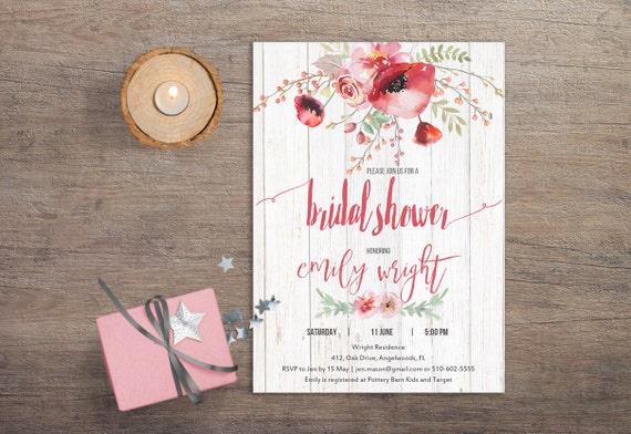 Printable Bridal Shower Invitation - Boho Floral Printable Watercolor Flowers Bridal Shower Invitation