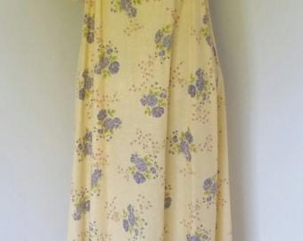 "37"" Bust Vintage 60's Yellow Floral Prairie Maxi Dress"