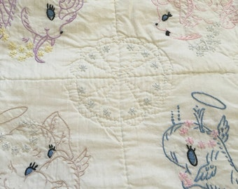 Vintage Anthropomorphic Animal Baby Quilt Embroidered Blanket Angels Free Shipping