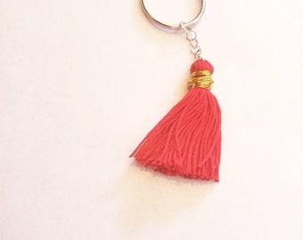 Blood Orange Tassel with Gold Wire hippie keychains boho key chains tassel key chains tassel girly keychain planner key ring handmade tassel