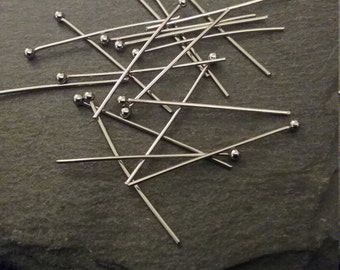 20 Stainless Steel Ball Head Pins 0.7mm Wide & 30mm Long