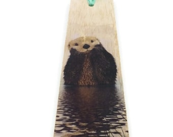 Wood bookmark - Wooden bookmark - Animal bookmark - Otter bookmark - Otter - Cute bookmark - Handmade bookmark - Unique bookmark