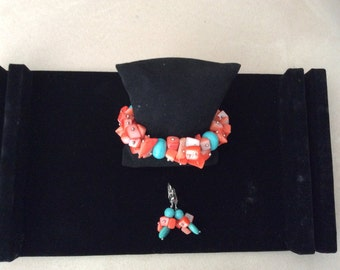 Set of bracelet and earrings