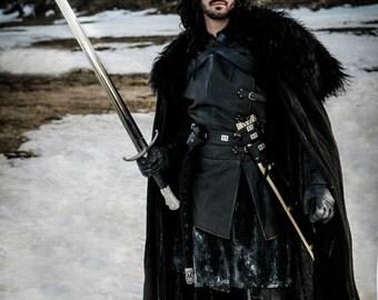 Jon Snow Cloak ANY COLOR / Game of Thrones Cape / Halloween Costume Cosplay Ned Stark Sansa Arya Black Linen Fur Medieval Renaissance LARP