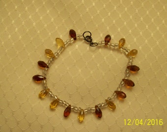 Brown and amber glass bead bracelet