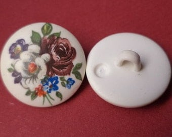 12 buttons 18 mm white flowers (3774) button
