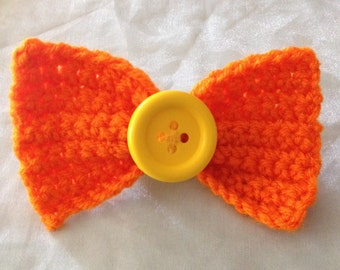 Orange and Yellow Knitted Bow