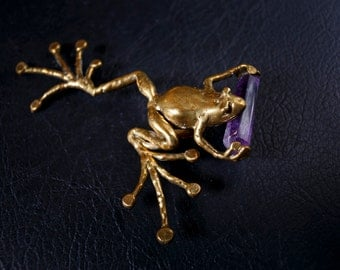 Brass and Amethyst Frog Pin