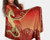 Red silk scarf with a dragon wings - Magical guardian, Open dragon wings, Fantasy accessory, Cute creature, Fairy tale wedding, Fire dragon