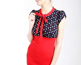 "Lee ""Schlefy"" dress red ladies short sleeve anchor"