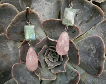 silver earrings 925 rhodium with labradorite and pink quartz.