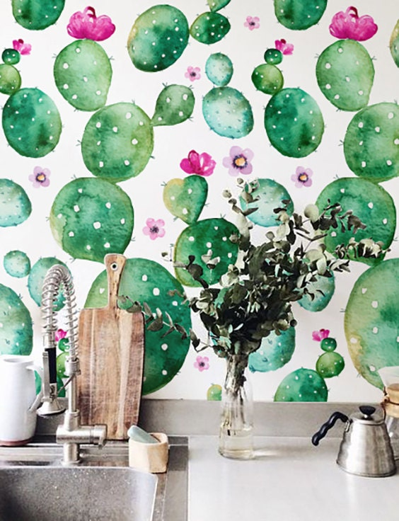 Watercolor Cactus With Flowers Wallpaper Removable Wallpaper
