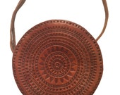 Boho Leather Crossbody Bag- Hippie Bag- Mandala bag- Ethnic Bag- Brown Leather Bag-  Gipsy Crossbody Bag- Summer Bohemian Bag- Casual Bag