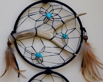 Black Leather Dreamcatcher with Antler