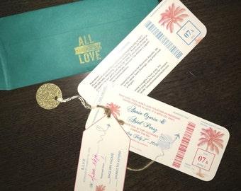 boarding pass Destination Wedding Invite