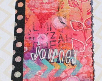 Mixed Media Notebook, painted, stamped, birthday,college student