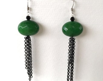 Green agate earrings and black chains
