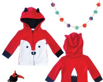 4T Red Fox Hoodie with ears and tail, zip-up Jacket, Fox Jacket, Animal Sweatshirt, Hoodie with Ears , Kids jacket, Fox outfit