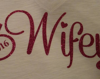 Wifey decal - Bachelorette Wedding Party, reception, bridal shower, wine glass decal, water bottle decal, wedding decor.