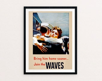 Waves, 1940s Military, Women in WWII, Navy Waves, US Navy, War Bonds, Recruiting Poster, Vintage World War, Enlist,