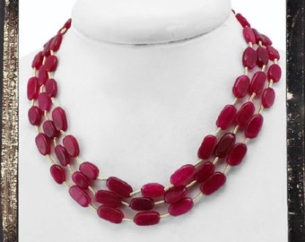 20% OFF COUPON!!!---Red Ruby Bead Necklace, 3 strand, 244 ctw