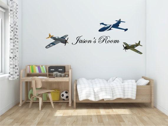 Plane Set & Custom Name Wall Sticker Decal